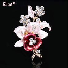 Elegant women Drip Crystal Flower brooches pins romantic brooches for women wedding party hijab pins bridal pins(China)