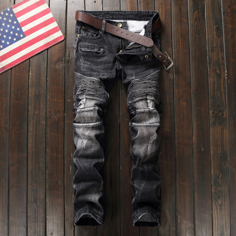 Fashion Designer Men Jeans Denim Spliced Distressed Pants Slim Fit Black Color Ripped Jeans Men Street Punk Stylish Biker Jeans Одежда и ак�е��уары<br><br><br>Aliexpress