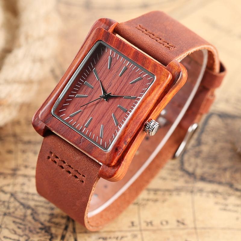 Creative Rectangle Dial Wood Watch Natural Handmade Light Bamboo Fashion Men Women Casual Quartz Wristwatch Genuine Leather Gift 6