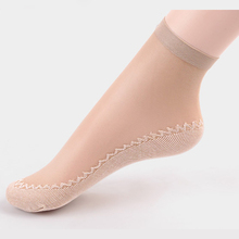 5Pair Breathable Transparent Socks Women Meias Summer Short Socks Calcetines Mujer Bottom Thicken Non Slip Sock Chaussette Femme(China)