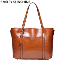 SMILEY SUNSHINE brand women leather handbag genuine leather bags female patent shoulder bags big ladies handbags brown tote 2017(China)