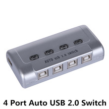 MT-VIKI 4 Port Auto USB 2.0 Selector Switch Printer Flash Driver Mouse Sharing Switcher Hotkey Software Control