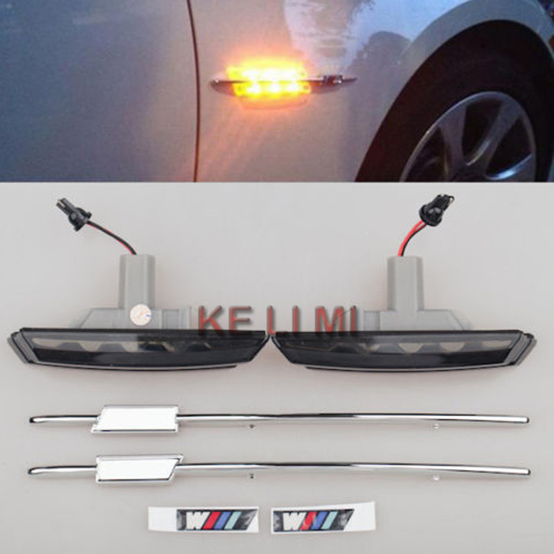 For BMW E46 3 series 98-01 M 2 LED Smoke Side Marker Lights Turn Signals indicator Black Car Style (2pcs)<br><br>Aliexpress