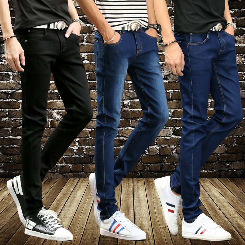 2017 Men Spring and summer mens denim trousers Slim feet stretch pants man jeans 28-36Одежда и ак�е��уары<br><br><br>Aliexpress