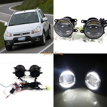 July King 1600LM 24W 6000K LED Light Guide Q5 Lens Fog Lamp +1000LM 14W Day Running Lights DRL Case for Fiat Sedico 2010(China)