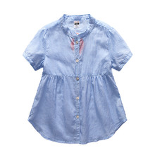 12M to 4T baby & little girls classic vertical striped 100% cotton summer shirts toddler girls children blue color blouse
