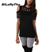 BiLaRyThy Summer Style Women's Casual O Neck Short Sleeve Slim T Shirts Hollow Out Off Shoulder Tops Tees