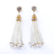 Euro-American Women Bijoux Manufacturer Direct Sales Luxury Round Pearl Tassel Pendant Long Earrings(China)