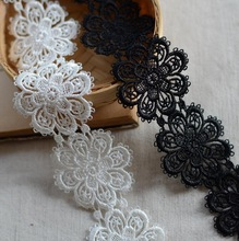 1 Meter Polyester Sewing Craft Crochet White Black Net Lace Trim Clothes Embroidered Flower Lace Fabric Applique