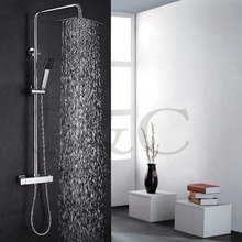 With Thermostatic Bath Shower Faucet Valve 30X20 cm Air Drop Rainfall Shower Head Exposed Bathroom Shower Set 030-30X20TA