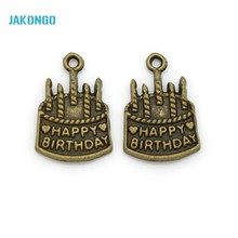 20pcs Antique Bronze Plated Birthday Cake Charms Pendants for Bracelet Jewelry Making DIY Necklace Craft 22x15mm