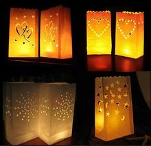 50 Pcs 25cm White Paper Lantern Candle Bag LED light Lampion Heart For Romantic Birthday Party Wedding Event Decoration(China)
