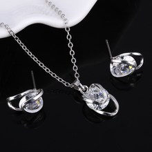 New Wedding Silver Jewellery Set White Cubic Zirconia Charming Pendant Necklace Earrings For Women Bridal Jewelry Sets