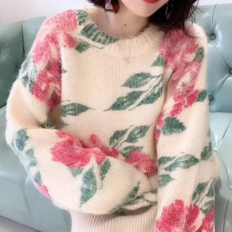 Sweater female autumn winter new retro round neck printing soft knit blouse pullover sweet sweater