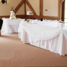 white 10M*1.35M Organza Swags DIY Fabric Wedding Party table skirts Party Decos free shipping(China)