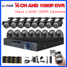 LOFAM HD 1080P 16CH AHD DVR Security Kit IR-CUT Night Vision Outdoor Indoor 2MP AHD Camera Home DIY 1080P CCTV AHD Camera System