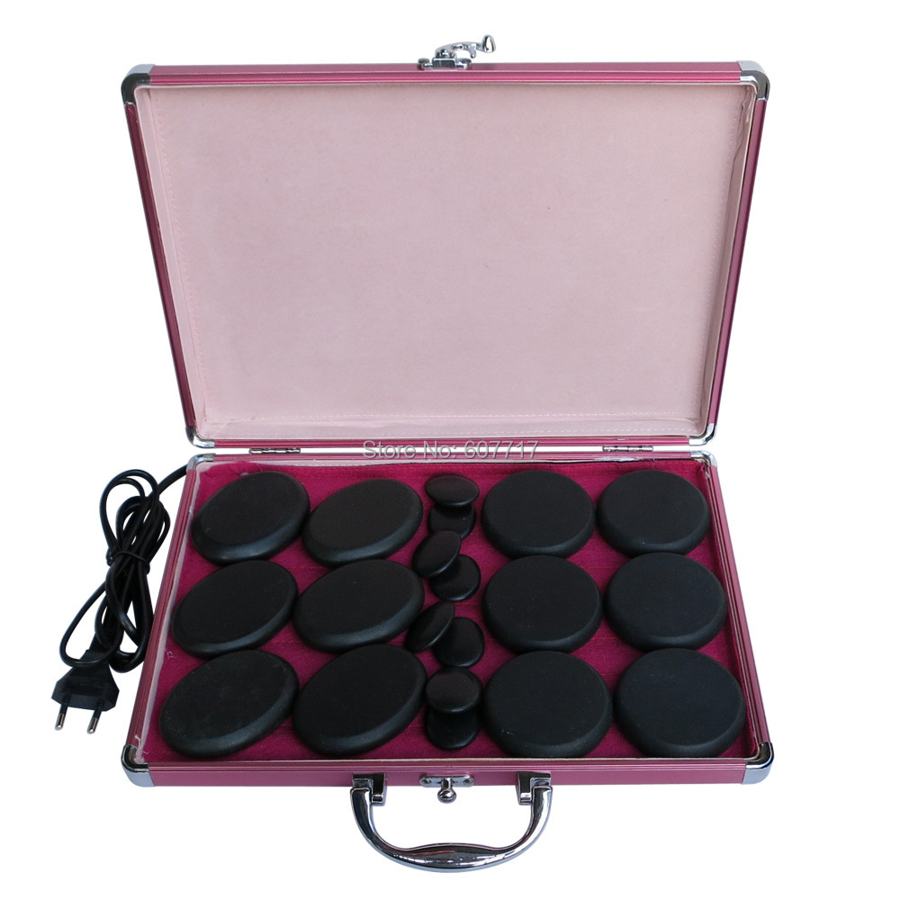 HOT!  stone body massager set with 220V heater box 20pcs/set 3set/lot<br>