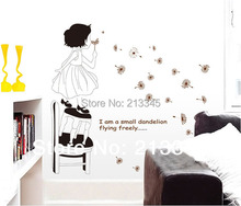 [Fundecor] 2 colors fashion home decoration stickers mural art girl dandelion wall sticker decals 6046/4053