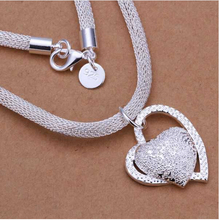 Free Shipping floating charms silver 925 jewelry women necklace chain Inlaid Heart Pendant collier femme charm SMTN270(China)