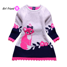 QQH Winter Spring Autumn Double-layer Long-sleeve Kids Fox Clothing Thick Girl Fox Sweater Dress for Children 4-8 Years