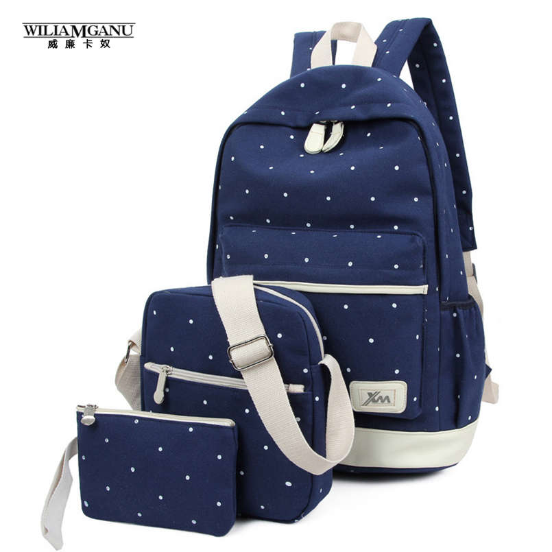 2017 Canvas Bag Shoulder  Bag  Girl Three-Piece Female Adolescent group 3 PCS/backpack Backpack Bag Wave Point<br><br>Aliexpress