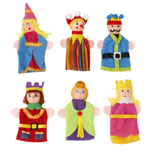 Wooden Head Finger Puppets 6pcs Royal King & Queen Set Classic Wood Toys for Children Birthday Chrismas Gift 12cm / 4.72 inch