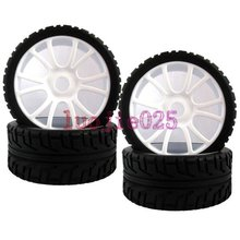 84W-803 RC 1:8 On Road Car Buggy Rubber Tyre Tires & Plastic white Wheel Rims Street Tyres  HUB HEX 17 mm Have foam inserts