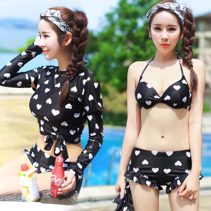 THREE Piece Swimsuit For Women with cuff Mermaid Bathing Suit Swimming Suit Bademode Frauen Costume Da Bagno Bimba Surf Shirt<br><br>Aliexpress