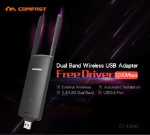 COMFAST usb wifi adapter 1200mbps 802.11ac/b/g/n 2.4Ghz + 5.8Ghz Dual Band wi-fi dongle AC Network Card USB antenna CF-926AC