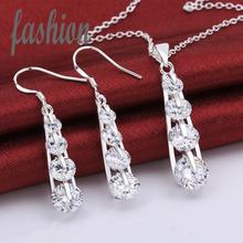 New Design silver plated Jewerly Set,Cheap Inlaid Stone Women's Jewelry Bridal Party sets Hot Sale SMTS777 rings(China)