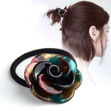 Women hair rubber band headband Clamp claw hairpin ladies acrylic flower head band ornament lady hairdressing accessories