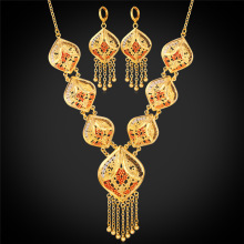 Gold Color Indian Jewelry Set Women Tassel Necklace & Drop Earrings Vintage Party Earing And Necklace Jewellery Sets NE895(China)