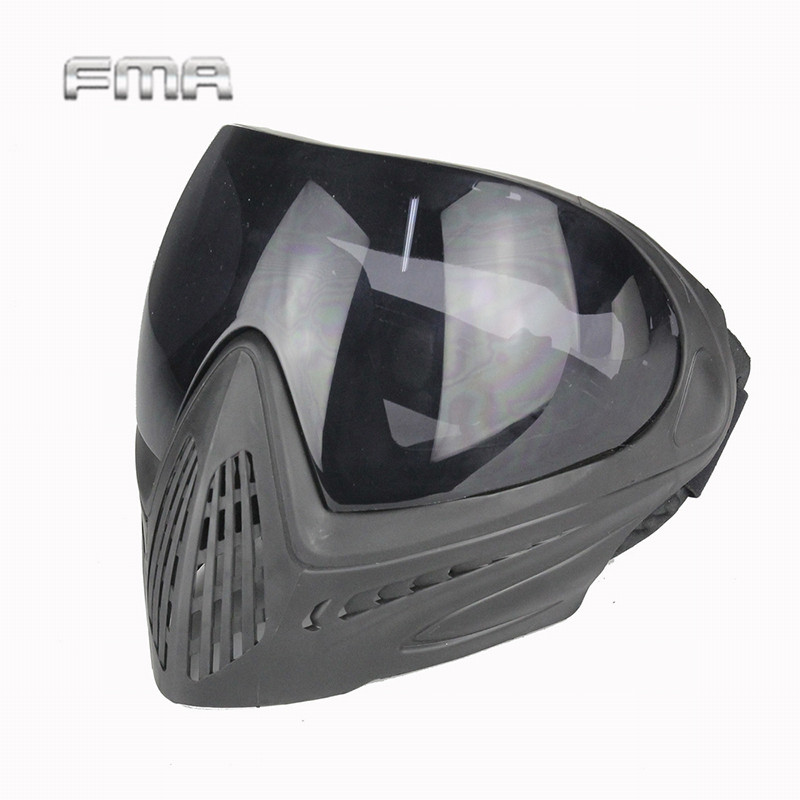 FMA Outdoor Sports Airsoft Tactical Eyewear Ski Hunting Safety Anti-fog Protective Goggle Full Face Mask with Black Lens FM-0022<br>