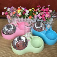 1 Pcs Dual Port Dog Automatic Water Dispenser Feeder Utensils Bowl Cat Drinking Fountain Food Dish Pet Dogs Bowl(China)