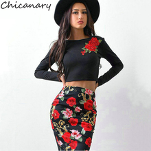 Chicanary 2017 Autumn New Rose Embroidery Crop Tops Women Long Sleeve Fall Floral T-shirts Slim Tees(China)