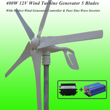 Great Discount 5 Blades 400W 12V Wind Turbine Generator With Perfect Wind Generator Controller & 600W Pure Sine Wave Inverter