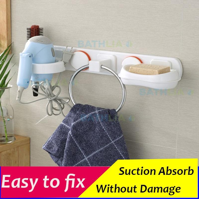 Wall Mounted  Towel Ring Suction Hair dryer holder Mulit-Function Shower Caddy Organizer Bathroom Storage rack<br><br>Aliexpress