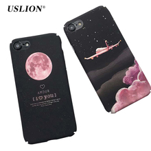 USLION Cartoon Stars Space Moon Case For iPhone 7 Case For iPhone7Plus 6 6s Plus Airplane Frosted Hard PC Cover Phone Cases(China)
