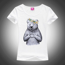 Newest 2017 Fashion Russian Chewbacca/Bear With Love Design T Shirt Women Custom Animal T-Shirt High Quality Cool Tee Tops