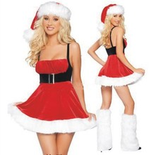 New Fashion Adults Womens Santa Claus Costume Red Ladies Halter Christmas Dress Sexy Cute Christmas Party Fancy Dress