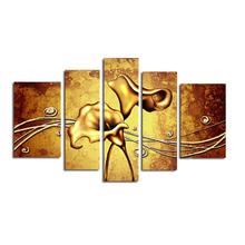 Handmade Oil Painting On Canvas 5 Pieces/set Gold Flower Paintings Living Room Home Decor Work Art Unframed Decoration Artworks