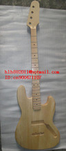 FREE SHIPPING UNFINISHED 4 strings electric bass guitar without hardware withour paint in natural color  +foam box