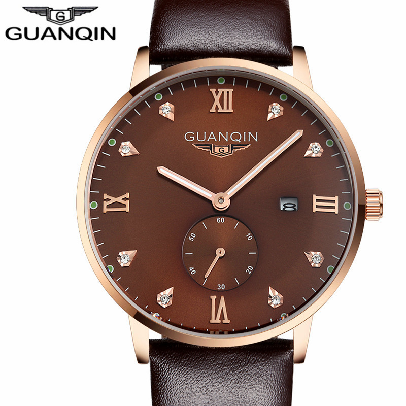 relogio masculino 2016 GUANQIN Men Fashion Casual Luminous Clock Mens Watches Top Brand Luxury Leather Quartz Watch montre homme<br>