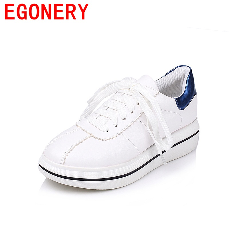 EGONERY 2018 newest kitten heels concise mixed colors campus lace-up woman shoes round toe daily skid resistance single shoes<br>