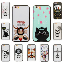 Fashionable painted soft TPU kickstand phone case cover for coque iPhone 6 6s plus 7 7plus cute cat skull cross cases