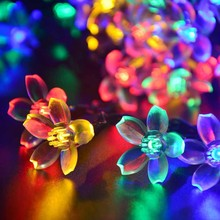 Christmas Lights Outdoor 21ft 50 LED Solar String Lights Flower Garden Lighting for Home Wedding Party Decoration(China)
