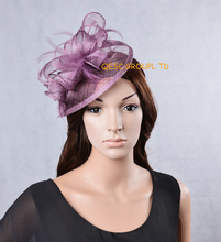 NEW 31 colours Heather lavender purple sinamay fascinator Feather hat for Kentucky derby,wedding,church .FREE SHIPPING.