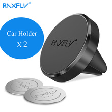 2PCS/Lot RAXFLY Magnet Car Holder For iPhone Samsung Universal Phone Stand Air Vent Magnetic Car Phone Holder For Xiaomi Huawei(China)