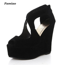 Famiao 2017 Summer New Nightclub Woman Shoes Sexy European Open Toe High Heels Ladies Platform Wedge Shoes Size 35-39