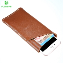 FLOVEME Genuine Leather Wallet Case For iPhone 7 6 4.7 inch Universal Retro Soft Phone Bag Pouch For iPhone 7 6 6s Plus 5.2 inch